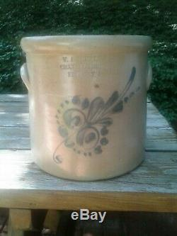 0826A Newton NJ SUSSEX COUNTY Decorated 2G Signed Stoneware Crock