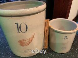 10 gallon Red Wing Union Stoneware Co. Crock Vintage Antique Large-Wing NICE