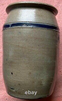 1800's Gray Salt Glaze Blue Highlight 6 Tall ANCHOVIS Stone Jar Crock