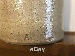1800's Primitive Stoneware Crock Jug Salt Glaze Cobalt BEE STING 3 RedWing