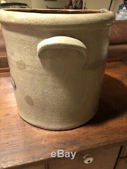 1800s 5 Gallon Lazy Eight Beesting Salt Glazed Stoneware Crock