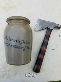 1800s A. P. Donaghho 8 Gray Salt Glaze Stoneware Crock Wax Jar Parkersburg, W. VA
