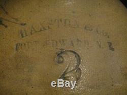 1800s Haxstun, Fort Edward New York 2 Gallon Stoneware Jug Crock w Blue Floral