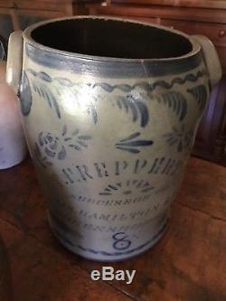 1800s Stoneware salt glaze cobalt crock
