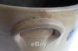 1851 Antique Stoneware Crock Pottery Dated 6 Primitive Folk Art Cobalt Blue