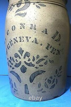 1870s A. Conrad, New Geneva, PA. #2 Cobalt Stoneware Storage Jar, Excellent