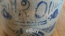 1880's R. T. Williams Cobalt Glazed Stoneware HUGE 20 Gallon Crock Stencil/Hand