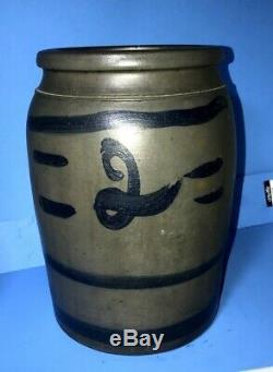 1880's Stoneware Storage Jar #2 Capacity 3 Stripes, 4 Dashes Excel Cond