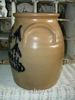 1984 Beaumont Pottery/ York, Maine Stoneware Crock REINDEER AND TREES JB
