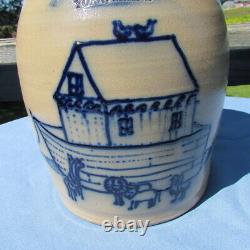 1986 Beaumont Pottery York Maine Stoneware Crock with Noah's Ark cross