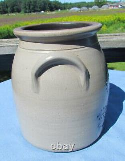 1988 Beaumont Pottery York Maine Stoneware Crock with Lion signed JB
