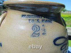 1988 Beaumont Pottery York Maine Stoneware Crock with bird 2 1/2 gal JB signed