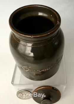 19thC Sgraffito Stoneware Spice Jar Cream Tartar Scratch Crock, Bennington VT