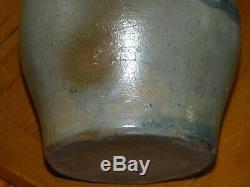 19th C 6 Striper 3 Stripes Western PA Stoneware Crock Squat Shaped AAFA