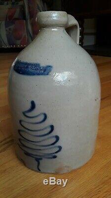 19th C. Antique White's Utica Jug Cobalt Blue Pine Tree Stoneware 10 In. Crock