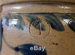 19th C. Blue Decorated Stoneware Crock 1 Gallon