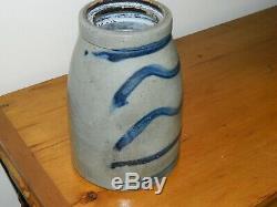 19th C Western PA Five Stripe Striper Stoneware Wax Sealer Crock AAFA
