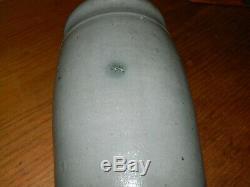 19th C. Western PA Four Wavy Stripe Striper Stoneware Crock Wax Sealer AAFA