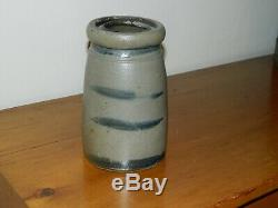 19th C Western PA Stoneware Crock Wax Sealer 4 Stripes Striper AAFA