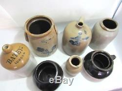 19th Century Antique Salt Glaze Cobalt Stoneware Crock Jug Pot Collection Lot