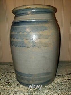 1 Gallon 8 Stripe Striper salt glazed stoneware crock