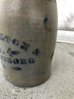 1 Gallon Stoneware Crock Blue Decorated Stenciled Jas Hamilton Co Greensboro