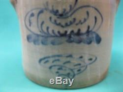 2 Gallon M WOODRUFF, CORTLAND NY Stoneware Crock / Salt Glaze / Mid 1800's