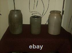 3 Antique Salt Glaze Stoneware Wax Sealer Fruit Preserve Canning Jars / Crocks