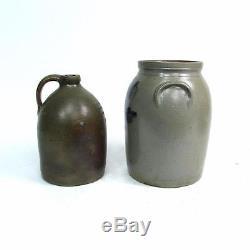 3 Antique Stoneware Crock Jug Lot A. J. BUTTLER Cobalt Decorated New Brunswick NJ