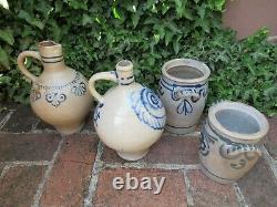 4 x Antique Westerwald Salt Glaze Ceramic Stoneware w Blue Designs around1860