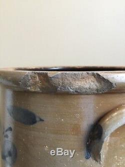 ANTIQUES 1800s SALT GLAZE STONEWARE 5 GAL. CROCK WithCOBALT FULL FRONT FLORAL