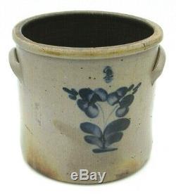 ANTIQUE 1800's Cobalt Blue Pansy Salt Glazed 2 Gal. Stoneware Crock with Handles
