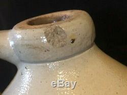 ANTIQUE 1800s SALT GLAZE STONEWARE BLUE BIRD BEEHIVE CROCK JUG JS TAFT KEENE, NH