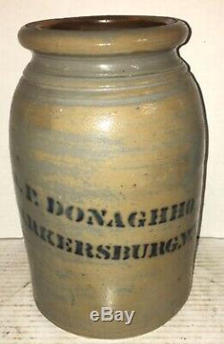 ANTIQUE AP Donaghho STONEWARE Parkersburg WV Crock Jar COBALT BLUE