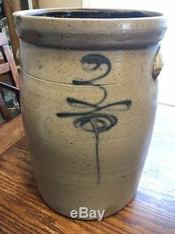 ANTIQUE BEE STING STONEWARE CROCK with Wood Top SALT GLAZED POTTERY Rare
