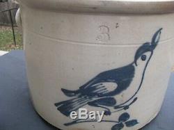 ANTIQUE BLUE DECORATED STONEWARE BIRD CROCK / 3 Gallon