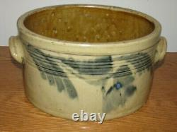 ANTIQUE BLUE DECORATED STONEWARE CAKE CROCK / Exceptional Condition