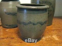ANTIQUE BLUE DECORATED WESTERN Pa. STONEWARE STRIPED CROCK