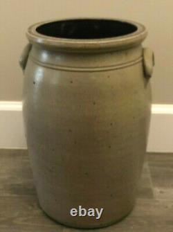 ANTIQUE Cobalt Blue FLORAL FERN Handled Salt Glaze Stoneware BUTTER CHURN