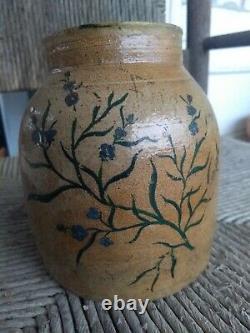 ANTIQUE Fort Dodge CANNING JAR Stoneware CROCK Blue FLOWERS Salt Glazed RARE