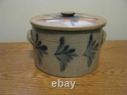 ANTIQUE REMMEY STONEWARE BUTTER CROCK with LID 1 Gallon