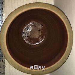 ANTIQUE STONEWARE Ovid Crock Jar, 3 COBALT BLUE STRIPES VERY GOOD CONDITiON AAFA