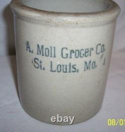 ANTIQUE ST LOUIS MO MISSOURI ADOLF Moll GROCER CO 5 1/4 TALL Stoneware CROCK