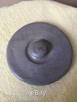 ANTQ. 2 GAL. SALT GLAZE STONEWARE A. K. BALLARD FULL FRONT FLORAL CROCK WithLID