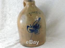 ATQ 1880's E&LP NORTON BENNINGTON VT COBALT SALT GLAZE STONEWARE CROCK JUG 1 gal