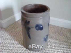 A Beautiful 1-½ Gallon Cobalt & Gray Stoneware Crock