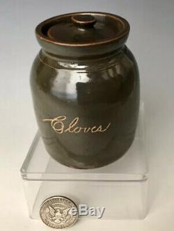 A+ Rare Bennington, VT Little Brown Antique Stoneware Spice Jar Crock Jug with Lid