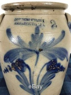 A Very Nice Antique Cowden & Wilcox Harrisburg, PA Stoneware Crock Double Flower