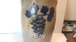 Ak Ballard Burlingington Vt 3 Gallon Cobalt Blue Grape & Leaf Stoneware Crock
