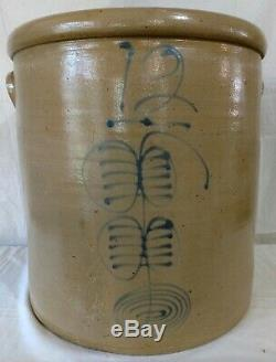 Antique 12 Gal Minnesota Red Wing Double Ribcage Cobalt Blue Stoneware Crock